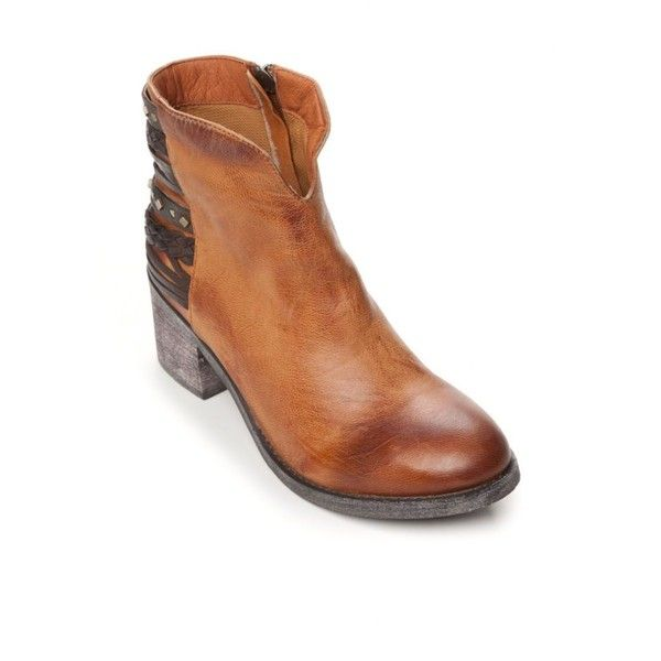 Antelope Tobacco Braided Back Booties - Women's ($259) ❤ liked on Polyvore featuring shoes, boots, ankle booties, tobacco, western ankle booties, leather western boots, woven boots, leather cowgirl boots and real leather cowgirl boots