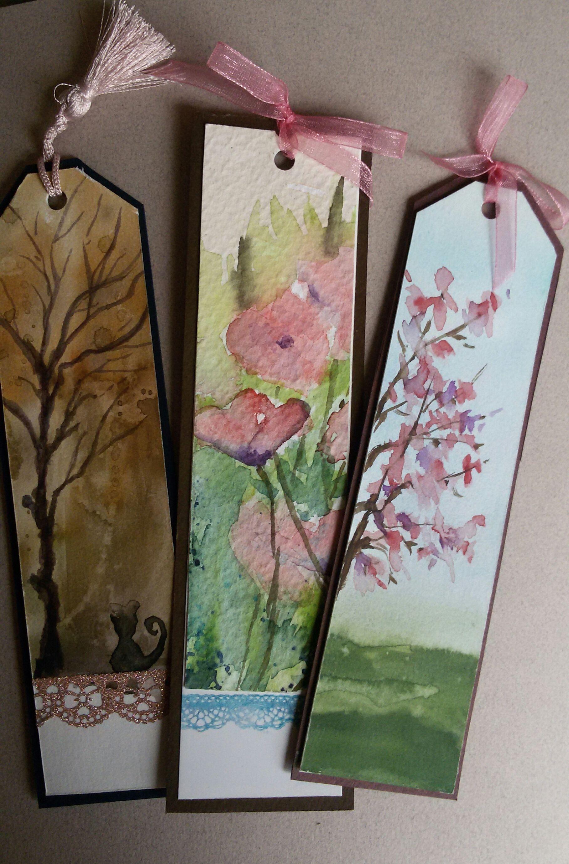 Suluboya Kitap Ayraclari Watercolor Bookmarks Handmade