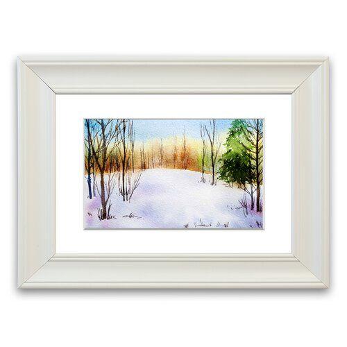 Photo of East Urban Home Framed Poster Trees in Winter Landscape Wayfair.de