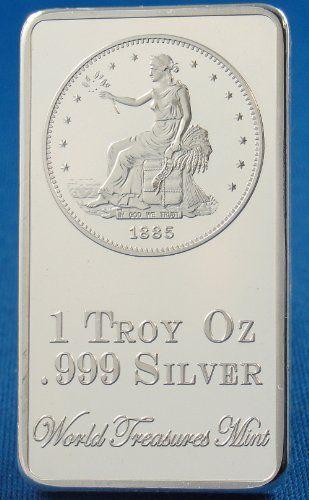 1 Troy Ounce 999 Silver Clad Ingot Sitting Liberty Eagle Trade Dollar 1885 Bar World Treasures Coin Design Coin Collecting Ingot