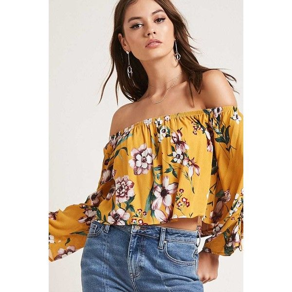 e32171d2251ee8 Forever21 Floral Off-the-Shoulder Top ($16) ❤ liked on Polyvore featuring  tops, mustard, mustard yellow crop top, mustard crop top, off shoulder crop  top, ...