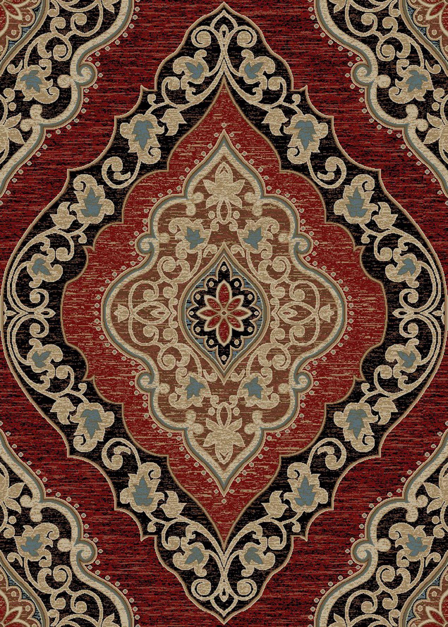Best Hometown Amelia Red Black Area Rug Black Area Rugs Wool 400 x 300