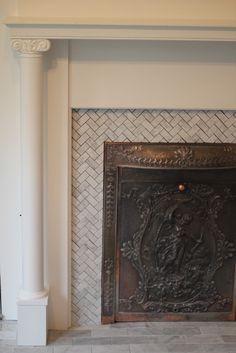 herringbone pattern carrara marble tile around fireplace - Google ...