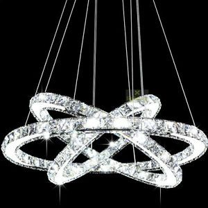 Modern Crystal 3 Ring Pendant Light Ceiling Lamp Circles Chandelier Led Lighting