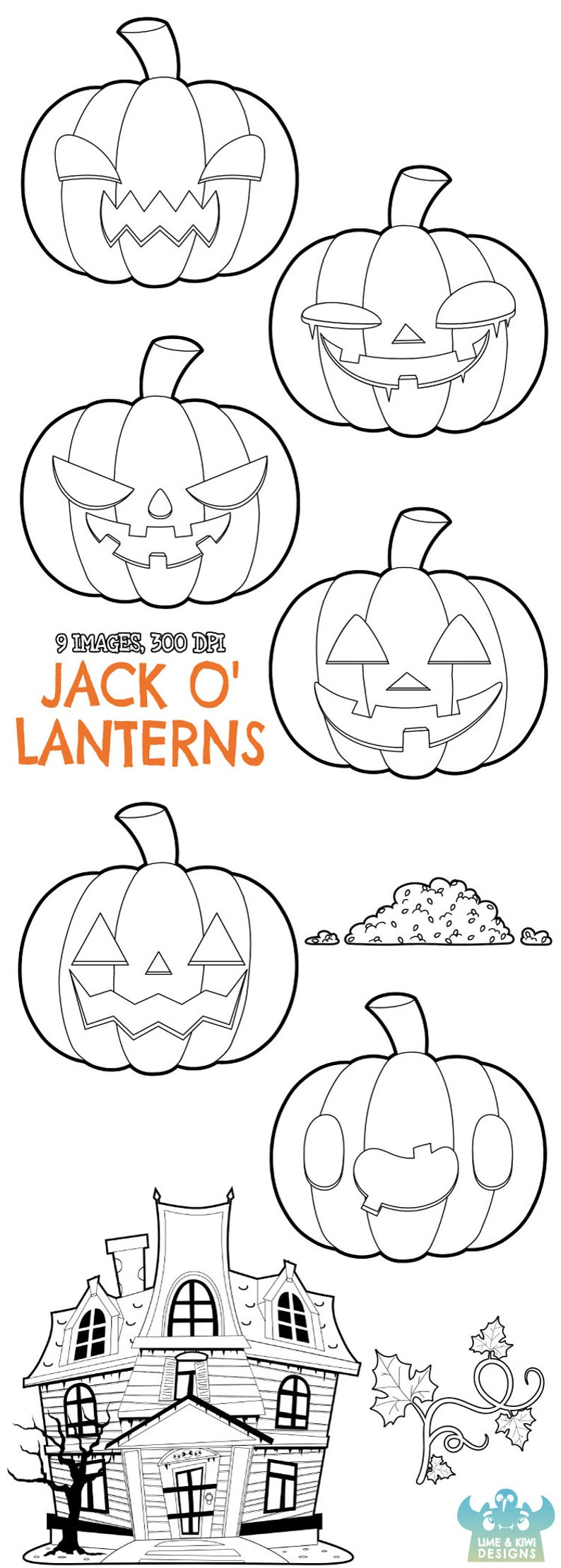 Jack O' Lanterns Digital Stamps, Instant Download Vector