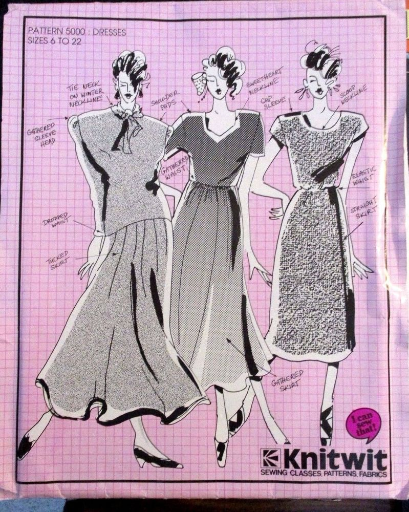 Details about knitwit sewing pattern no5000 ladies dresses size 6 details about knitwit sewing pattern no5000 ladies dresses size 6 22 uncut bankloansurffo Images