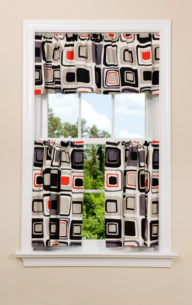 Geometric Kitchen Curtain In Red Grey And Black Geometric