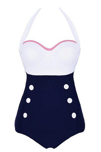 6bec3e701e3c Vintage halter abotonado traje de baño para las mujeres | verano ...