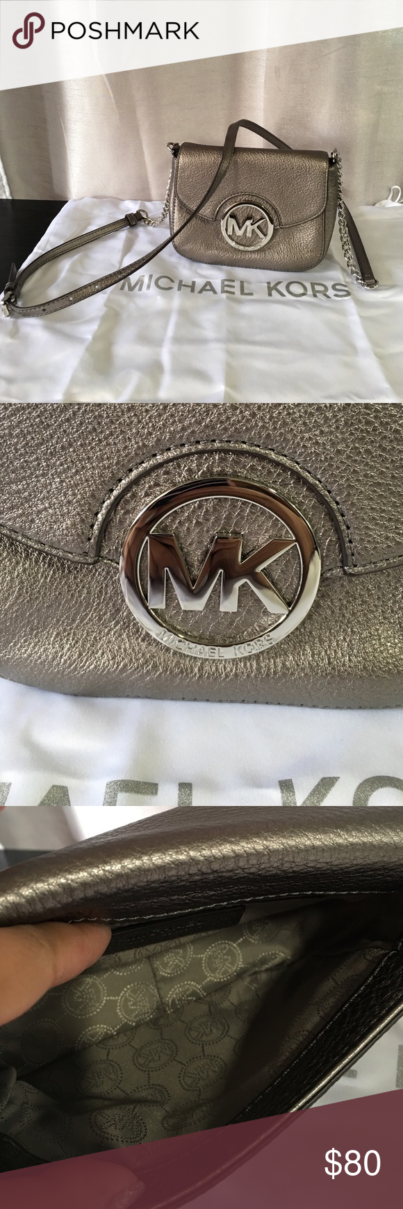 Michael Kors Fulton Crossbody Michael Kors Fulton Small Crossbody. Color; Gunmetal. Snap closure. 1 interior slip pocket and 1 exterior slip pocket. Lightly used. MICHAEL Michael Kors Bags Crossbody Bags