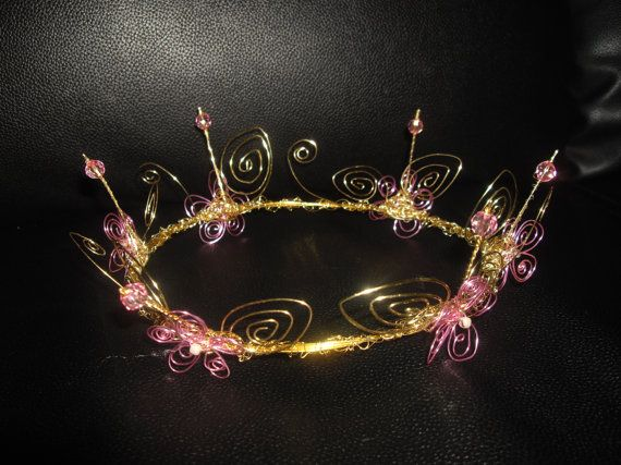 gold and pink wire crown