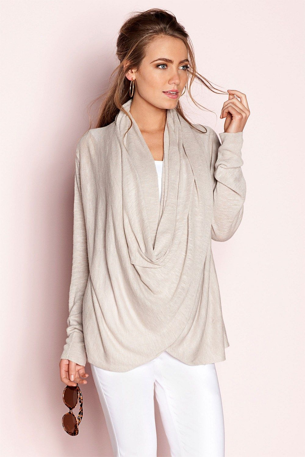 b8acdd6f685 Women s Tops - Capture Linen Wrap Knit - EziBuy Australia