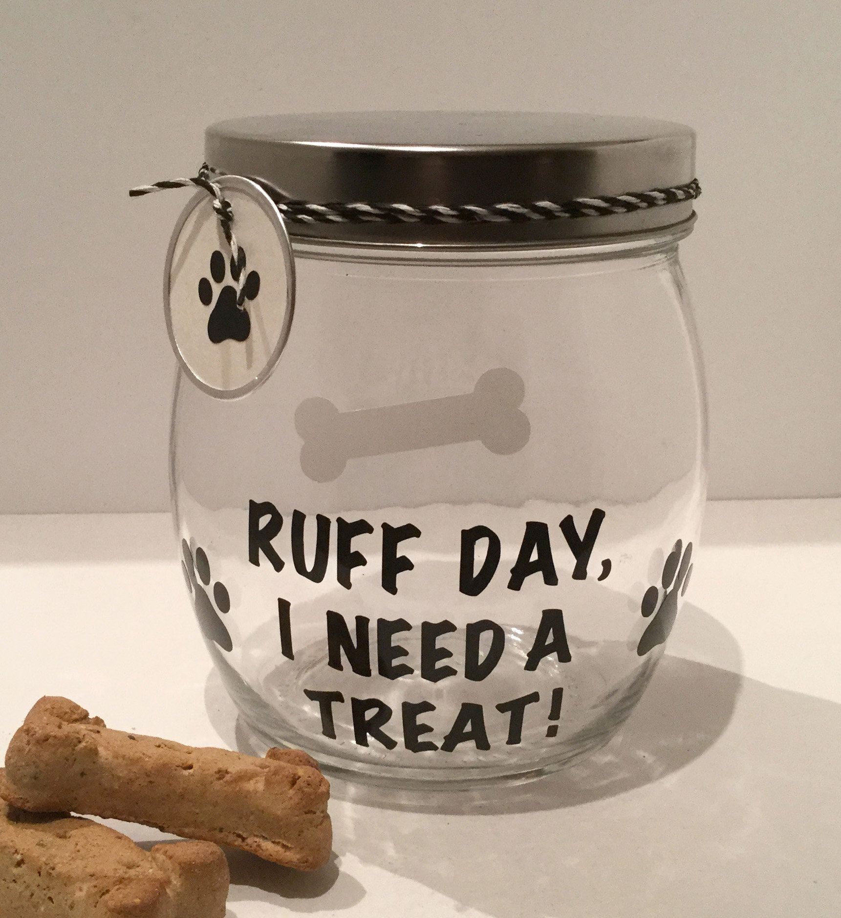 Leave Your Dog S Treats Out In This Handy Great Looking Treat Jar This Round Glass Canister Has A Twist On S Dog Treat Jar Dog Treat Container Diy Dog Treats