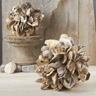 Excentricities 12 Oyster Shell Ball Shell Crafts Diy Oyster Shells Decor Oyster Shell Crafts