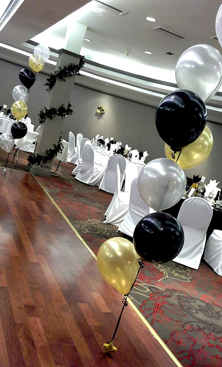 My Birthday Decorations Black Gold And Silver Balloon Decor By Davis Floral Creations