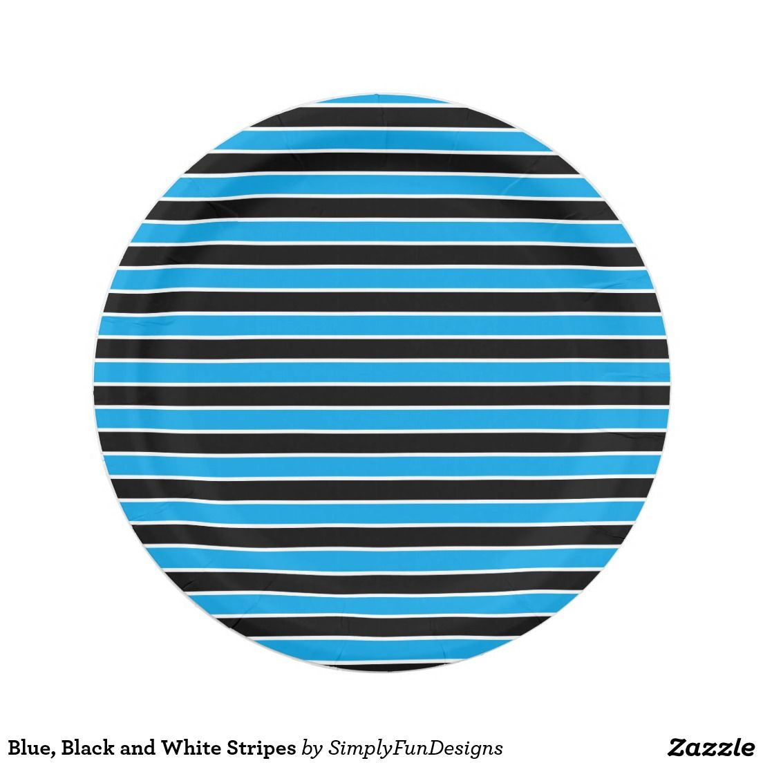 Blue Black and White Stripes 7 Inch Paper Plate  sc 1 st  Pinterest : black and white striped paper plates - Pezcame.Com