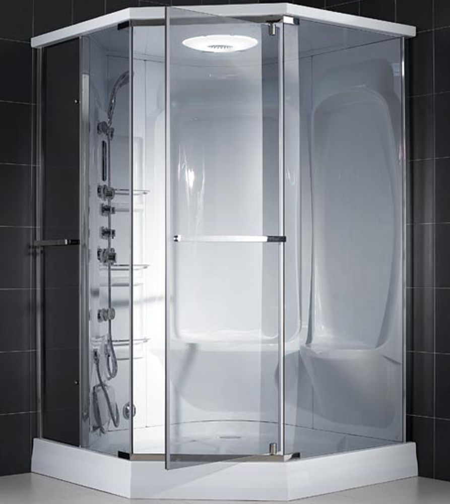 Wonderful Open Shower Bathroom Design With Glass Cabinet : Open ...