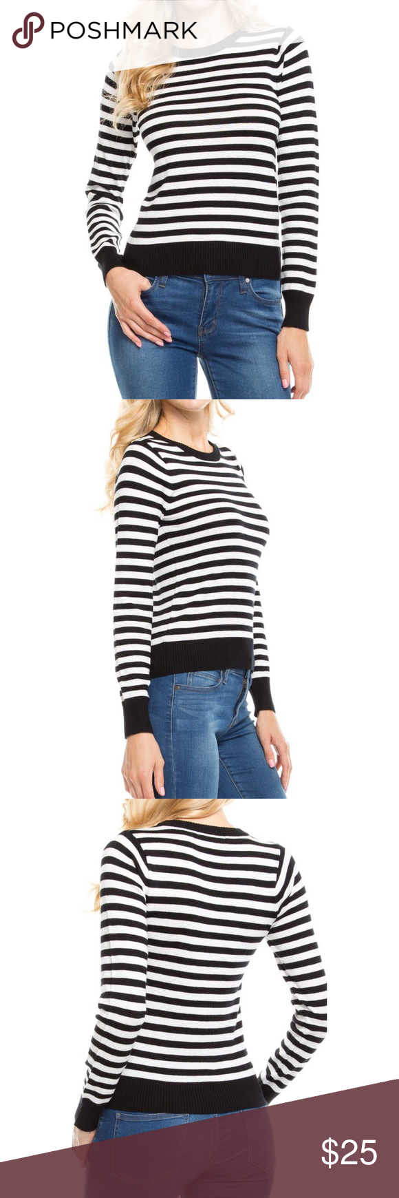 "▫️▪️Black and White striped Long sleeve top ▫️▪️ ⚫️⚪️Black and white striped long sleeve sweater. Very comfy sweater. The material is very soft.⚫️⚪️75% Viscose, 25% Polyester 21.5"" long Sweaters Crew & Scoop Necks"