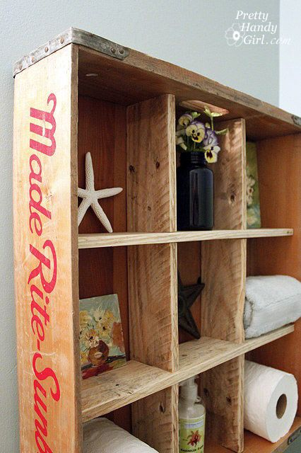 bread crate display shelf tutorial by brittany at pretty handy girl