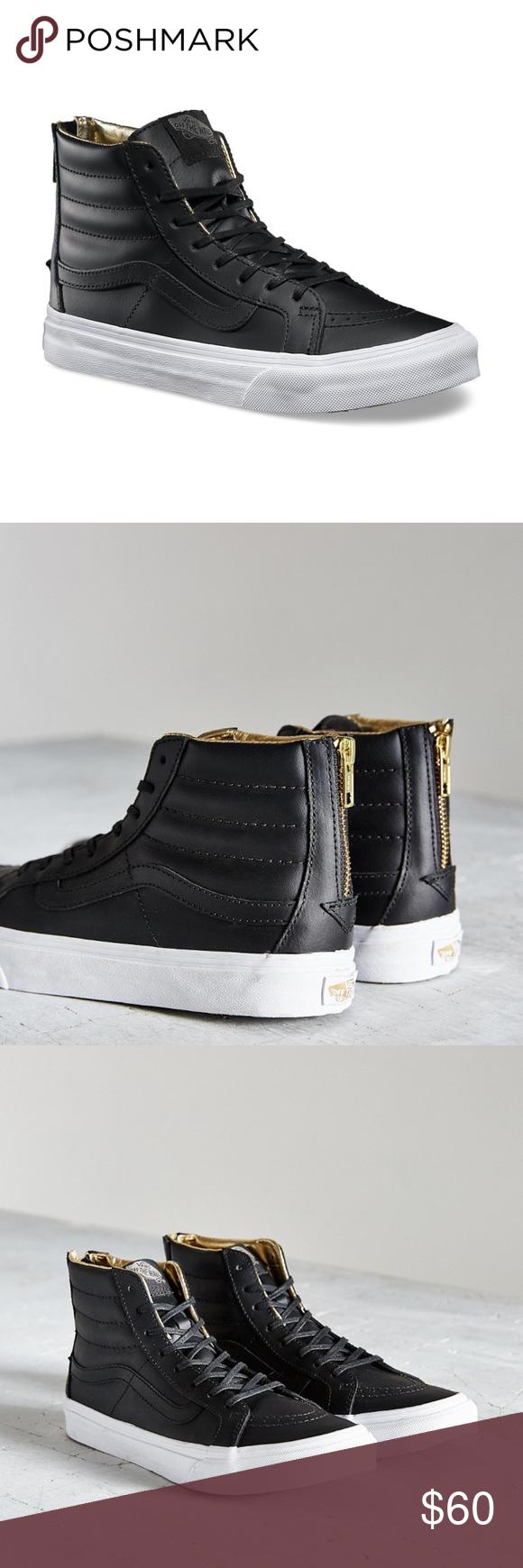 60e75369f6 Women Black Leather Sk8-hi Slim Zip Sneaker Size 6 The Vans Sk8-Hi ...