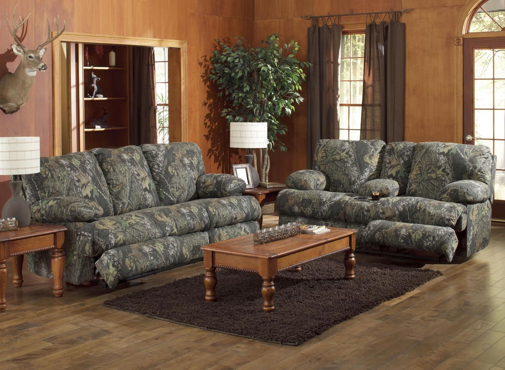 Best Catnapper Wintergreen Mossy Oak Camo Reclining Sofa And 400 x 300