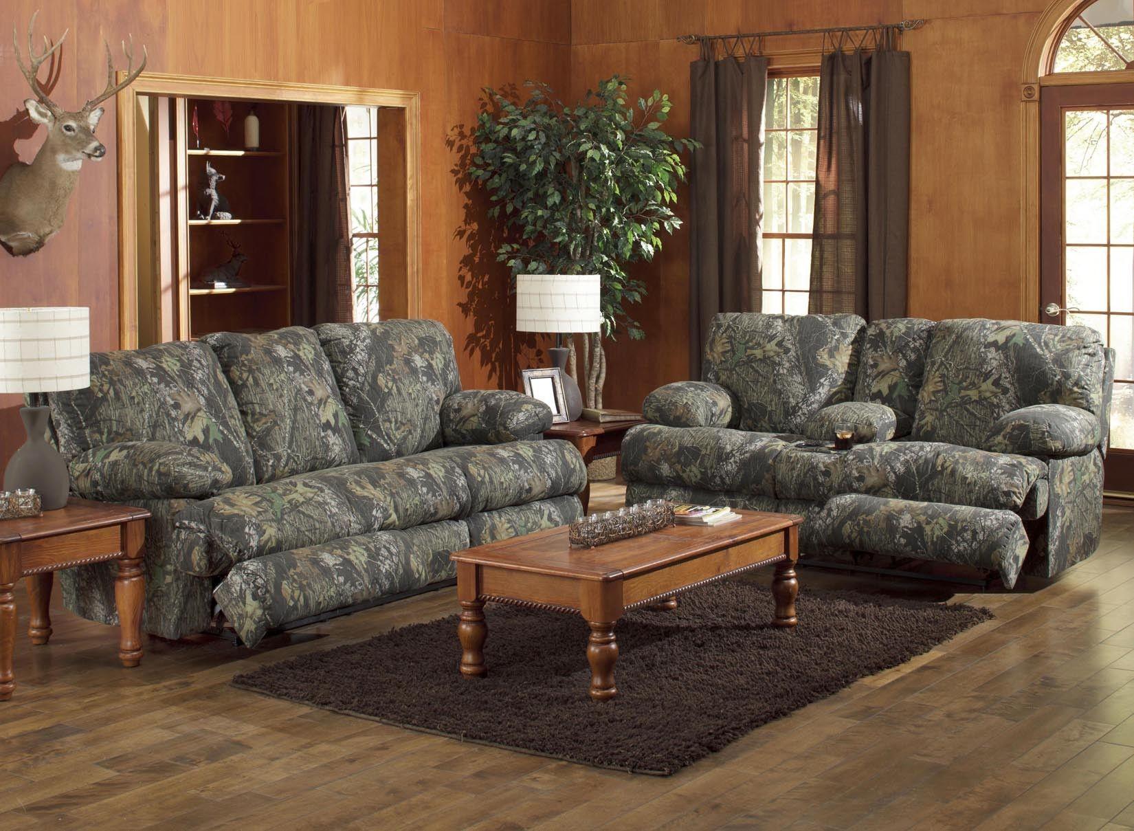 Catnapper Wintergreen Mossy Oak Camo Reclining Sofa And Love Seat