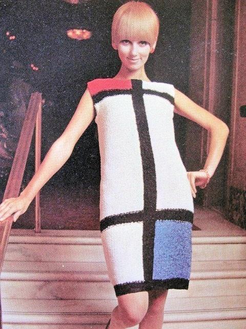 Instant Download Pdf Vintage Knitting Pattern Mod Mondrian Color