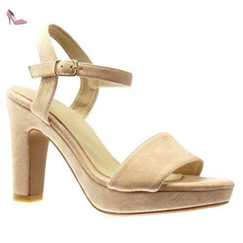 Angkorly - Chaussure Mode Sandale salomés sexy femme transparent pailettes lanière Talon haut bloc 10 CM - Argent - 101-1 GYafezFno