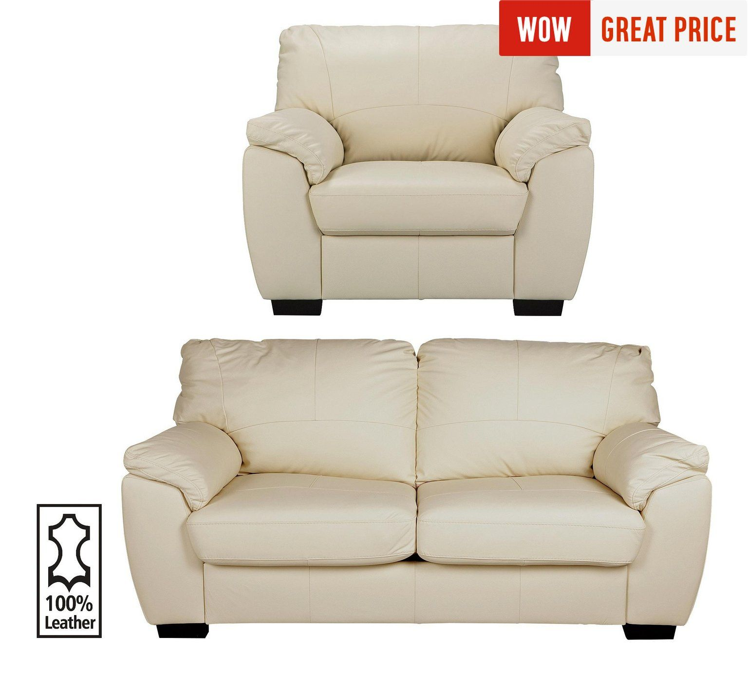 Collection Milano Leather 3 Seater Sofa And Chair Ivory At Argos Co