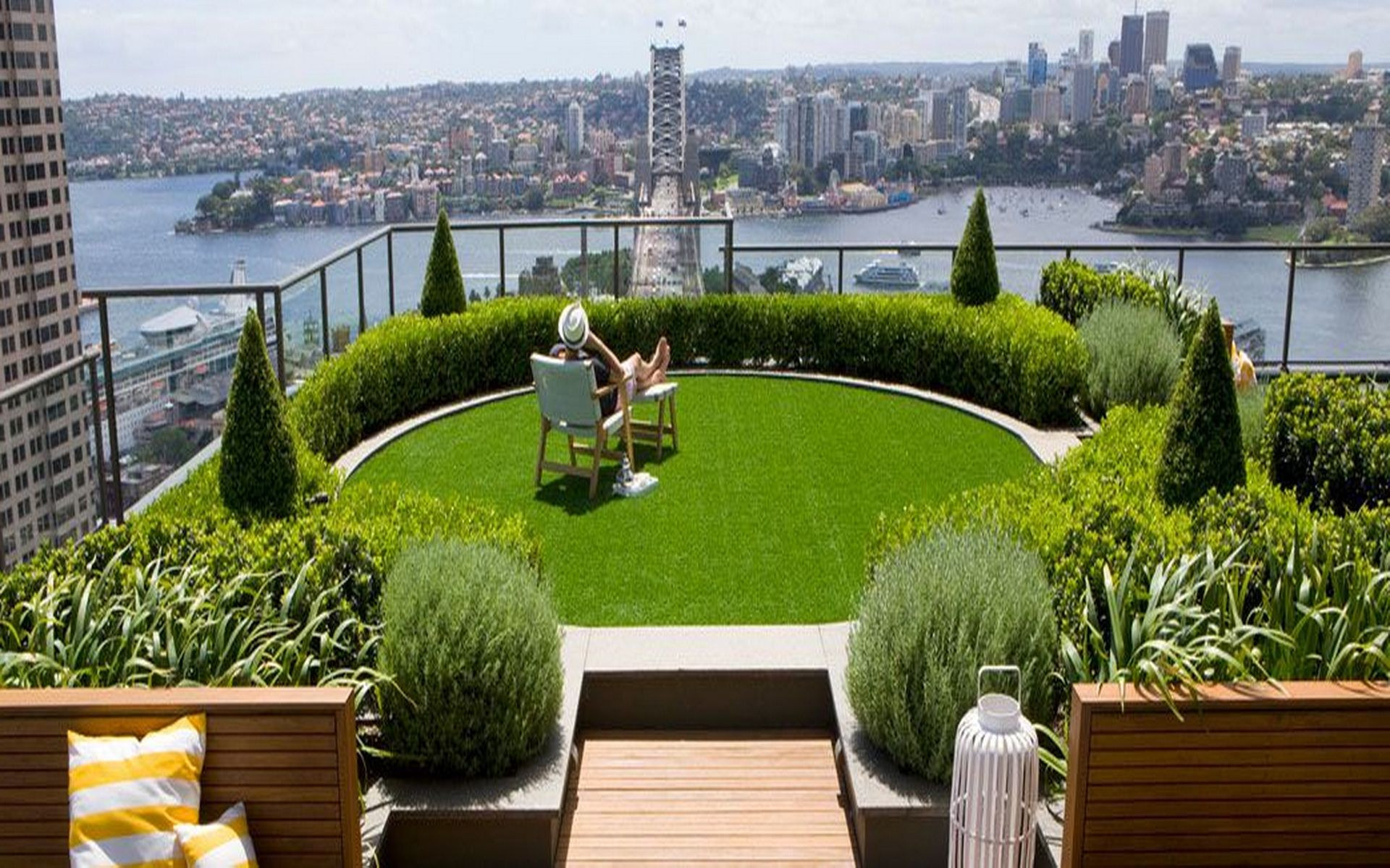 Slope Garden Ideas City Landscape Top View From Rooftop Design With Modern Green Round Wood Bench Set Also Mid Pine Plants Enjoyable Flower
