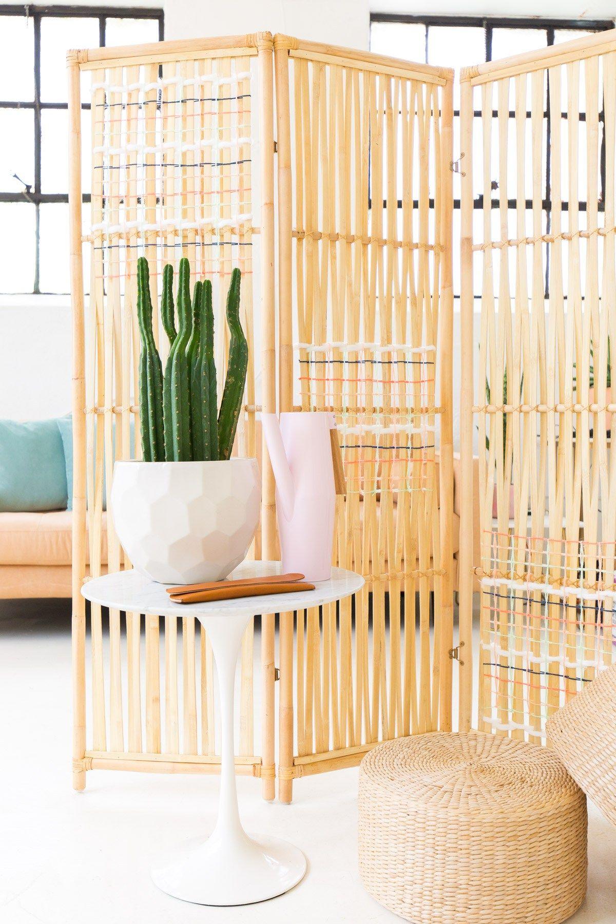 Diy Ikea Hack Woven Room Divider Sugar Cloth Diy Ikea Room Divider Room Divider Headboard Room Divider Bookcase