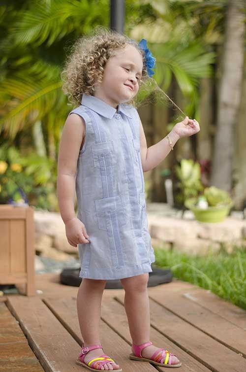 Ladies Guayabera Dress Long sleeve. Linen.