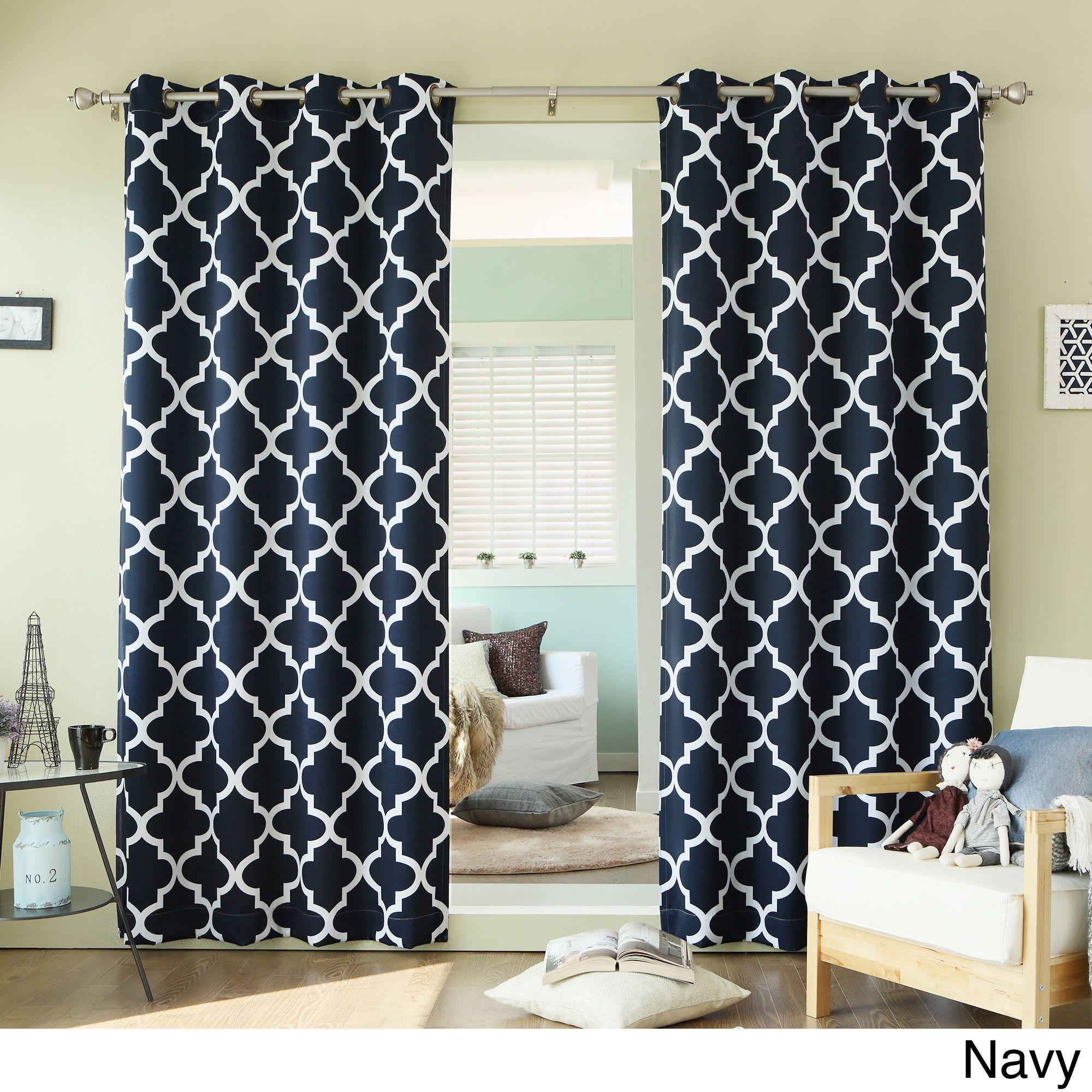 Aurora home moroccan tile inch room darkening curtain panel pair