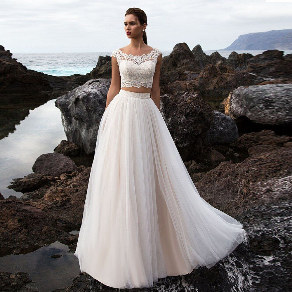Two pieces Beach Wedding Gowns Elegant Bridal Dresses Boho