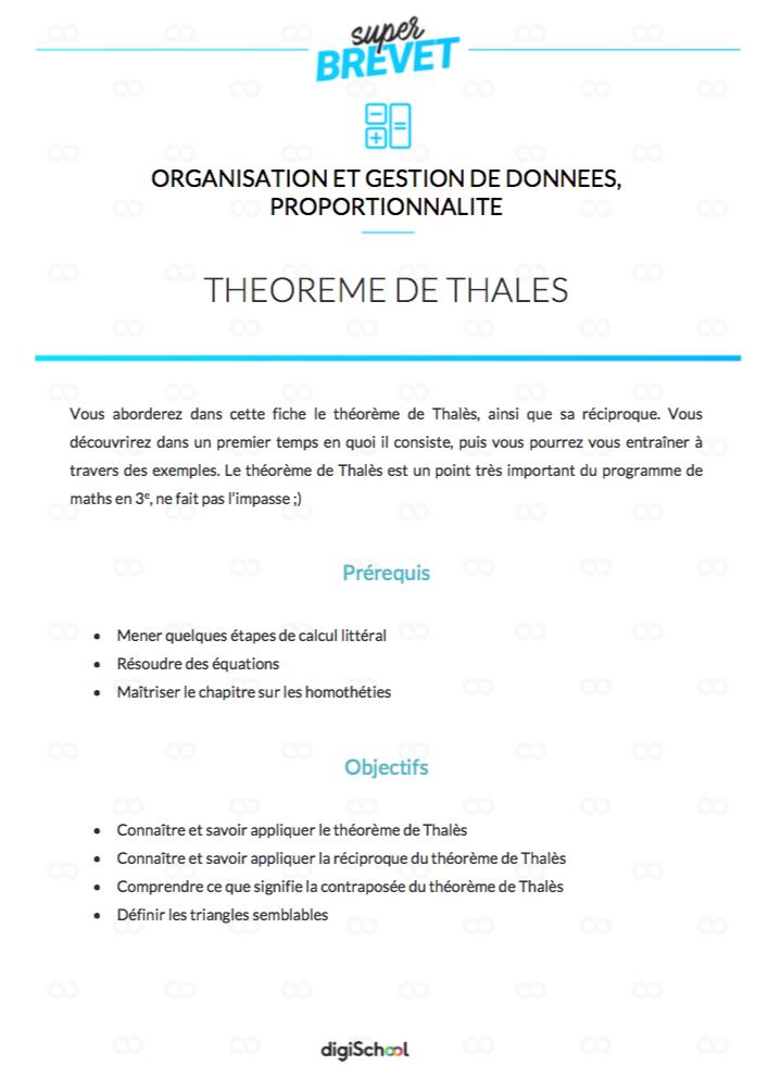 Theoreme De Thales Mathematiques 3eme Theoreme De Thales Cours De Maths Gestion De Donnees