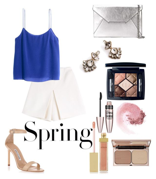 """Untitled #26"" by busrasencob on Polyvore featuring H&M, Carven, Charlotte Tilbury, MICHAEL Michael Kors, Manolo Blahnik, NARS Cosmetics, Maybelline, Christian Dior and AERIN"