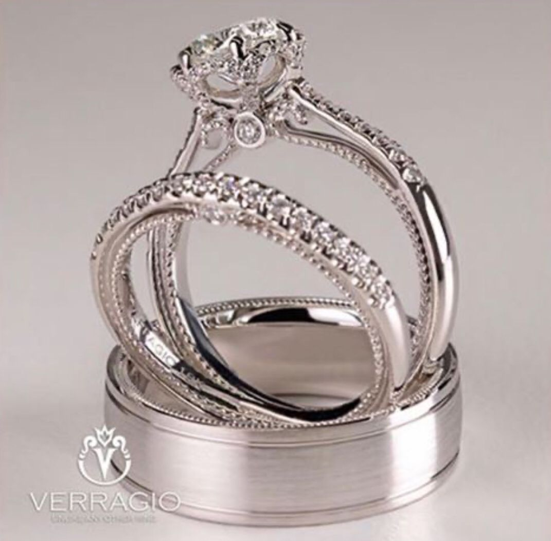 Verragio Couture 429 Engagement Ring 429w Wedding Band And Vw 7018 Verragio Engagement Rings Engagement Rings Verragio Engagement