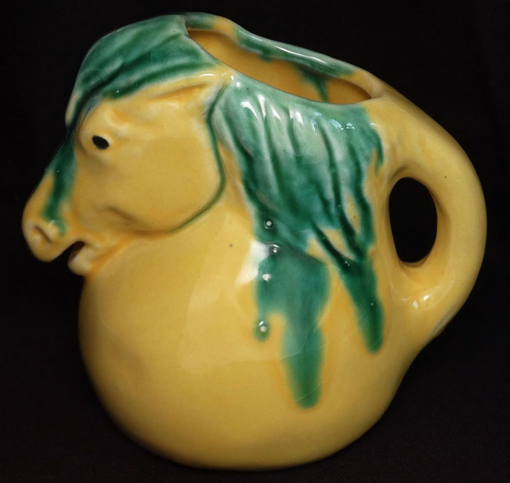 Vintage Horse Creamer Cream Pitcher Figural Ceramic Pottery Yellow Green Cool!
