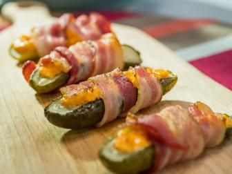 Bacon-Wrapped Pickles Stuffed with Pimento Cheese #pioneerwomannachocheesecasserole