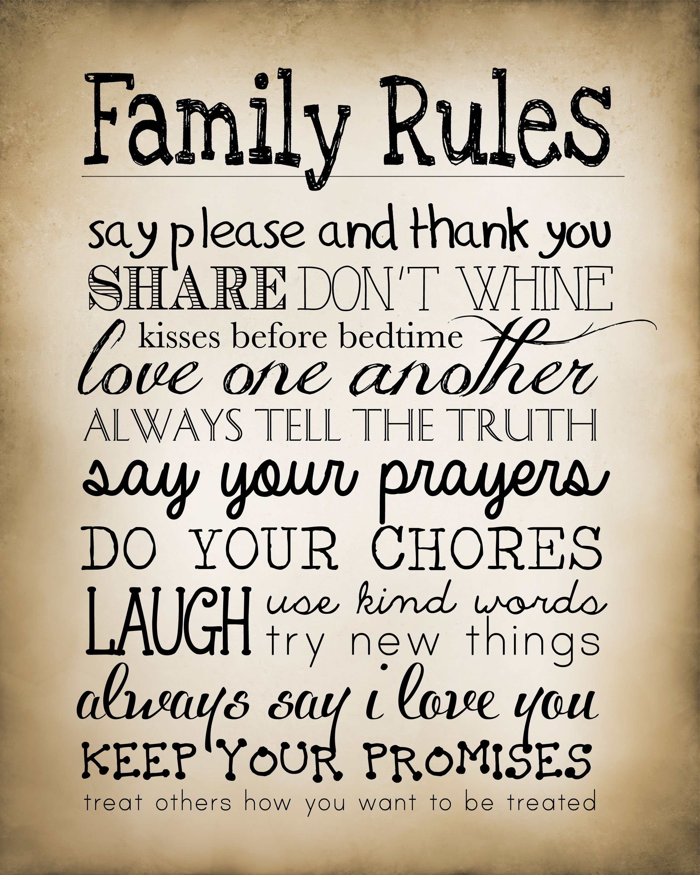 Family Rules Free Printable Family Rules Printable Family