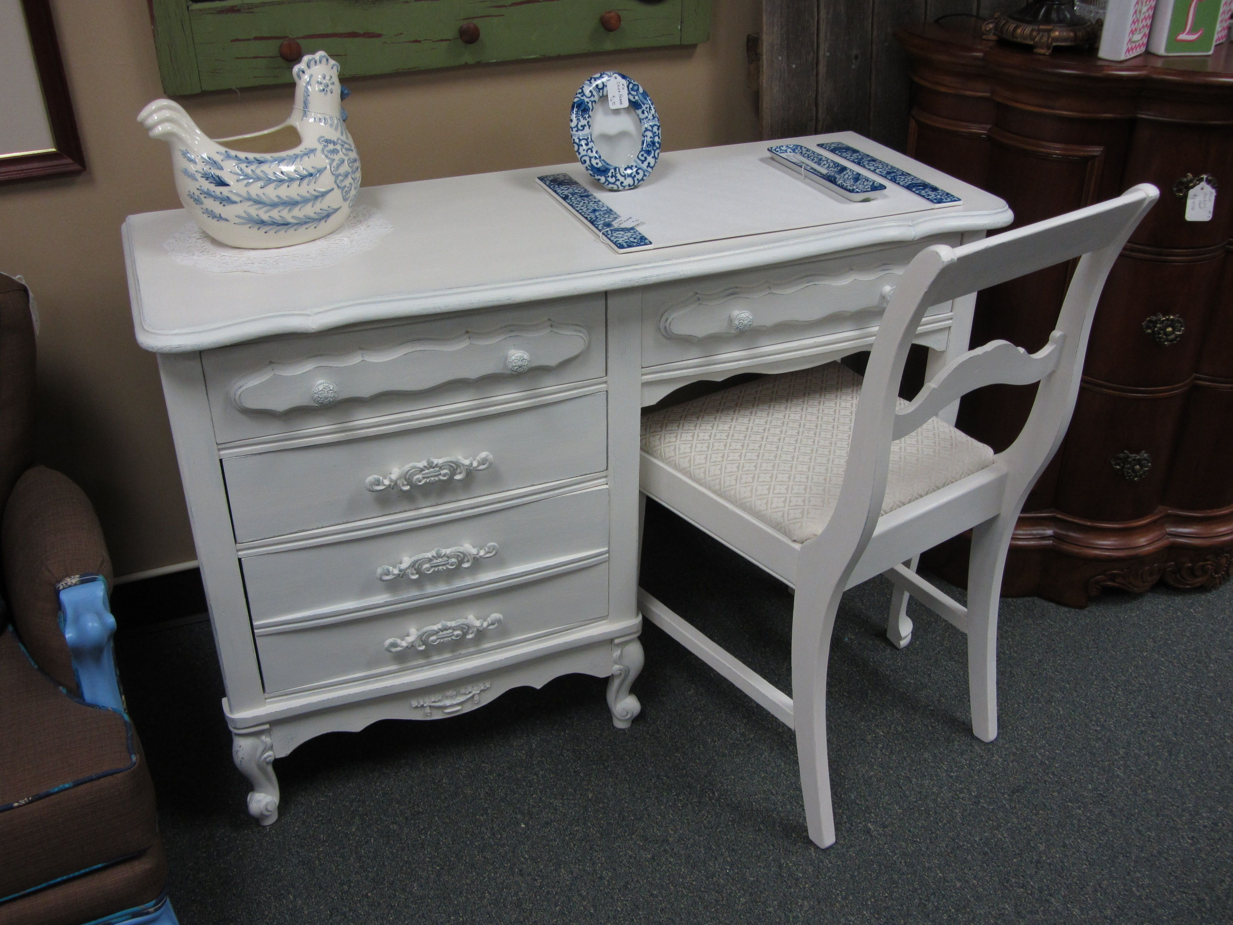 French Provincial Desk And Chair Painted In Mother Earth White Lace And Distressed Through To Calming Waters French Provincial Vintage Furniture Desk