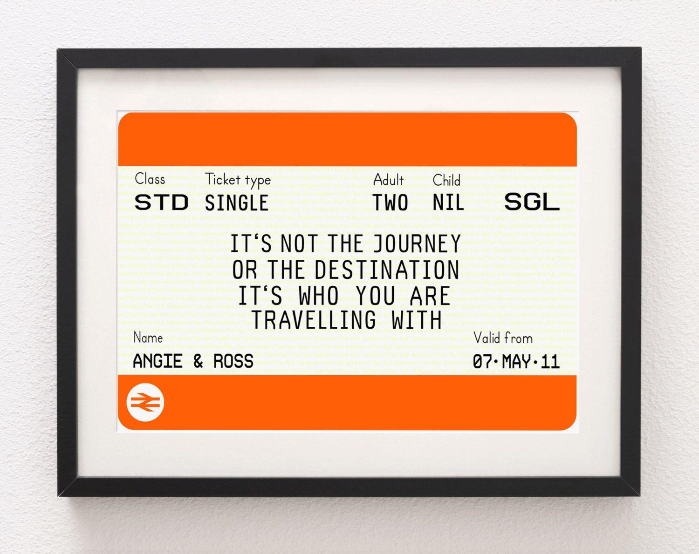 personalised train ticket personalised wedding gift valentines travel print wedding print