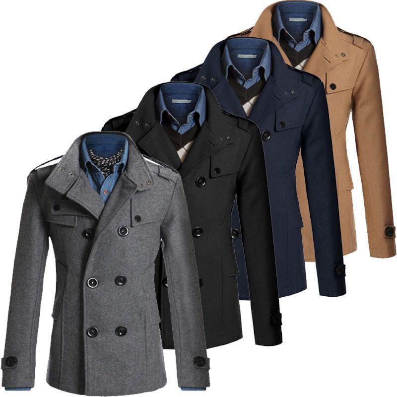 Fashion Coat Double Breasted Peacoat Long Men Jacket Winter Dress ...