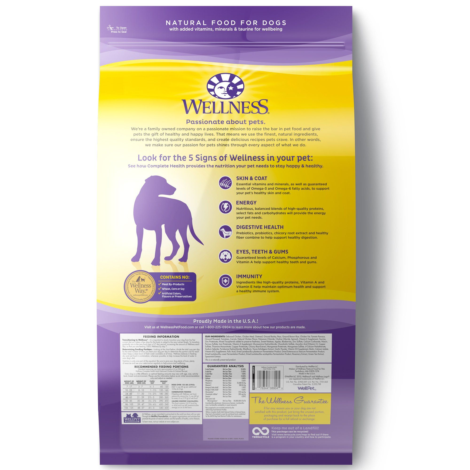 Wellness Complete Health Natural Chicken Recipe Dry Dog Food 15