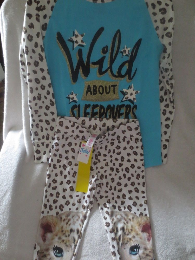 Justice Girl Wild Sleep Over Pajamas Set Animal Print Size 6 7 New
