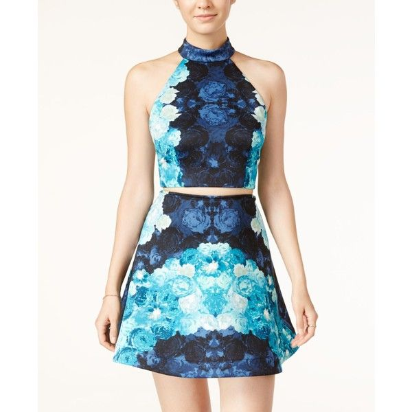e129fc8946f Teeze Me Juniors  2-Pc. Floral-Print Halter Fit   Flare Dress ( 60) ❤ liked  on Polyvore featuring dresses