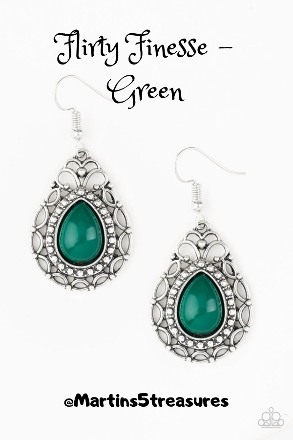 66031ec1a Flirty Finesse-Green - A green teardrop bead is pressed into a shimmery silver  frame radiating with whimsical filigree and studded patterns. Earring ...