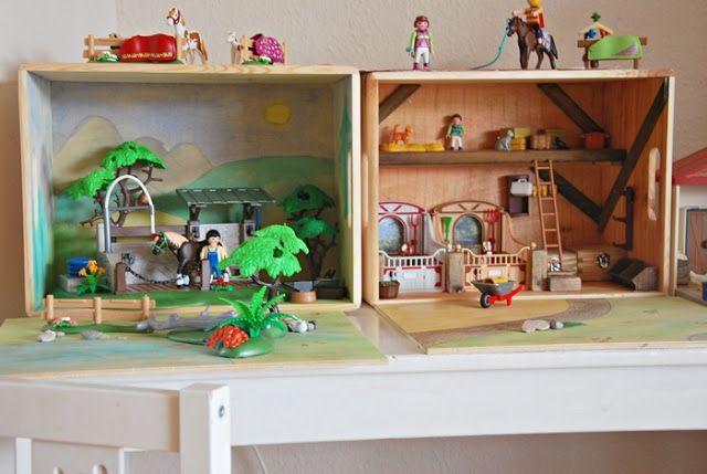 DIY Playmobil Aufbewahrungskisten und Spiellandschaften