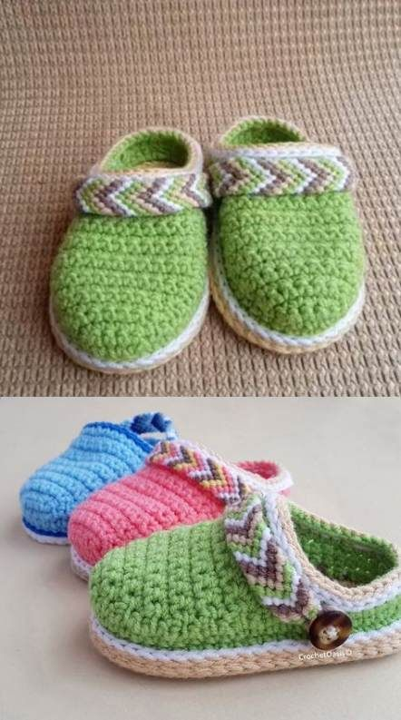 Crochet knit slippers baby booties 30 ideas #crochet #baby #crochetbabyshoes