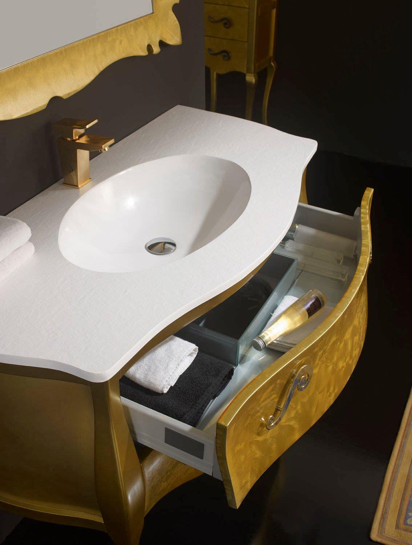 Mueble de ba o vintage paris en color pan de oro fantasy for Mueble bano vintage