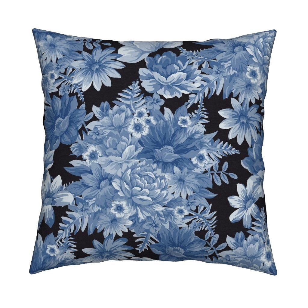 Floral 100/% Cotton Bedspread Or Pillowsham Or Cushion Cover White Blue Vintage